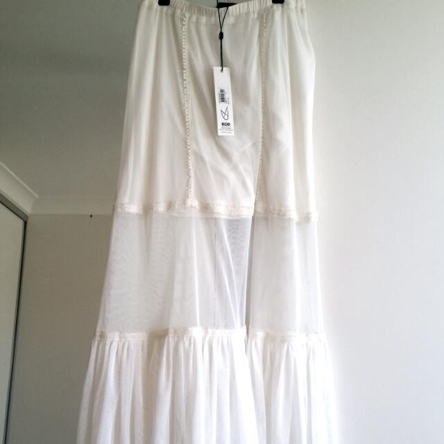 Minkpink Sheer Layered White Lace Maxi skirt