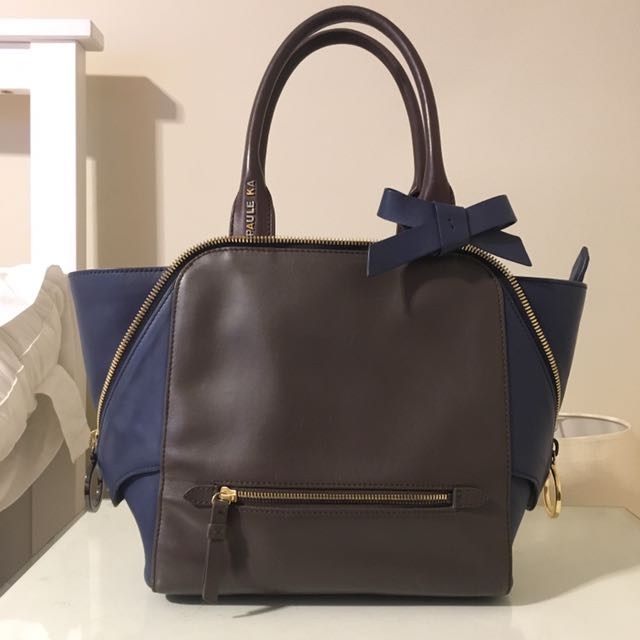 Navy And Brown Leather Purse
