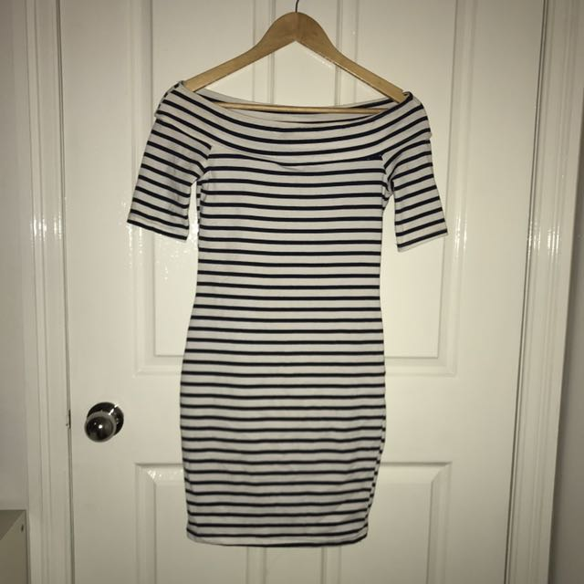 Off The Shoulder Bardot Striped Bodycon Dress from ICE - Size Small
