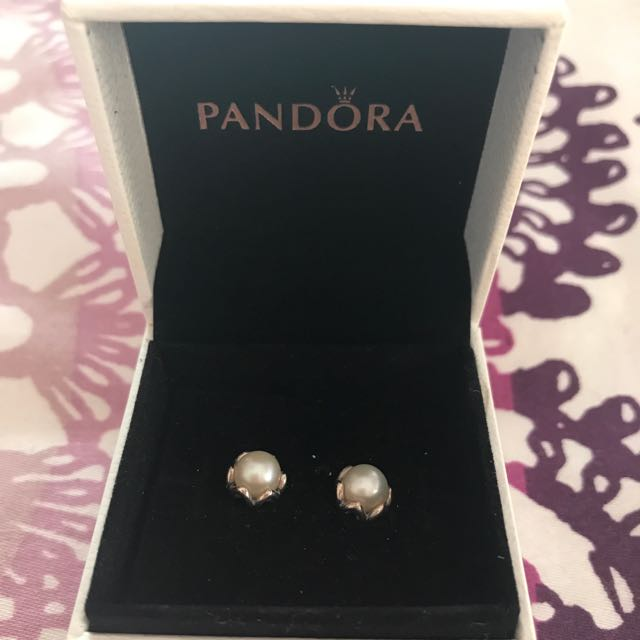 AUTHENTIC Pandora White Pearl Silver Stud Earrings