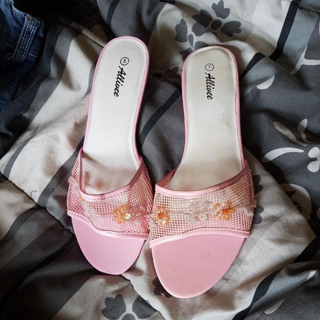 JUST REDUCED: Pink Beaded Kitten Heels