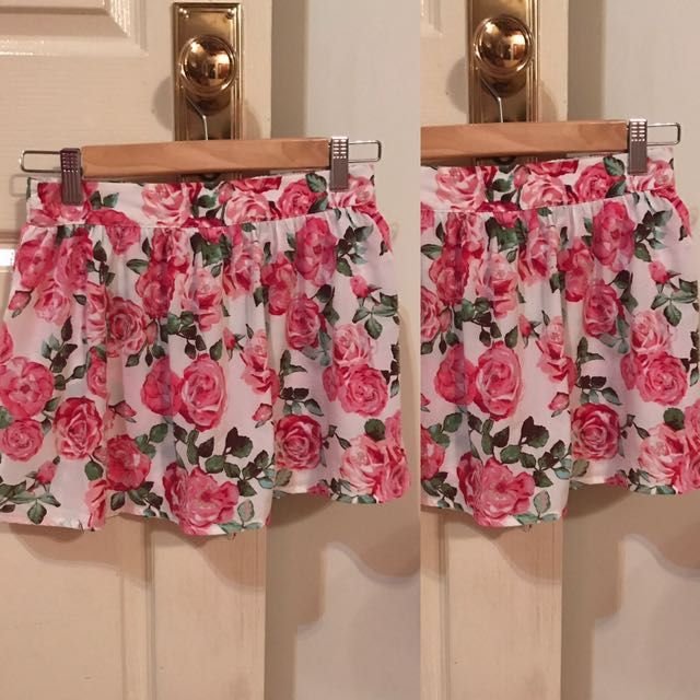 Pink flowered shorts