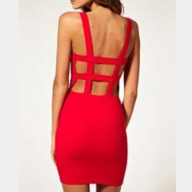 Red Bodycon Dress with Strap Detail