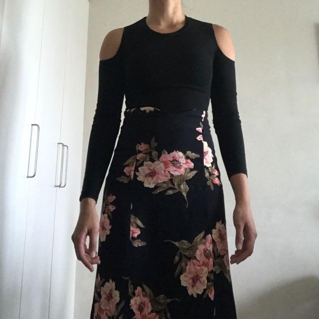 Reformation Black Ribbed Long Sleeve Without Shoulder