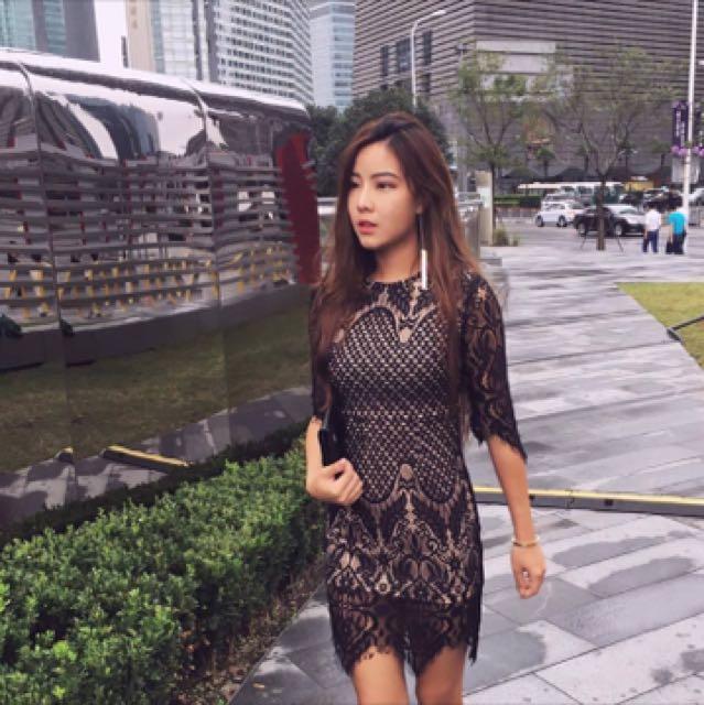 全新scrappy koko scrappykoko 超美黑色蕾絲貼身洋裝連身裙