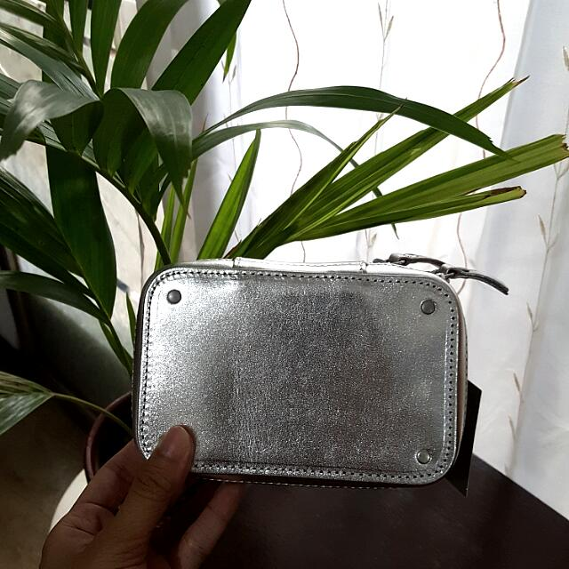 Silver H&M Genuine Leather Clutch
