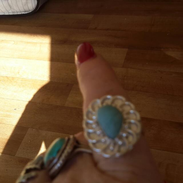 SILVER PLATED NATURAL BLUE LARIMAR RING- 9US