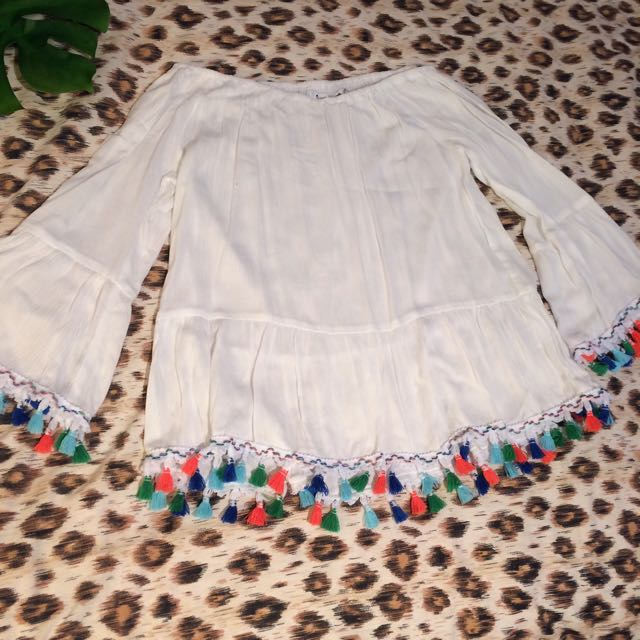 Sunnygirl Off-shoulder Tassel Top White Sz 8