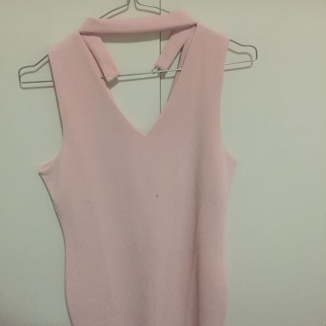 Temt Pink Dress With Choker