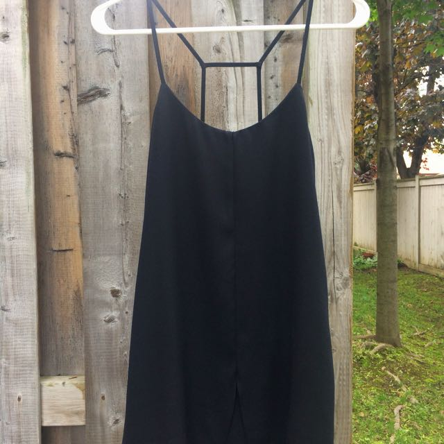 Topshop Petite Black Dress With Spaghetti Back Straps