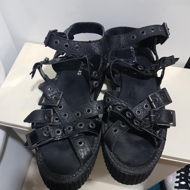 bc20c7beb70 underground England platform leather sandals 真皮厚底罕有涼鞋uk5 ...