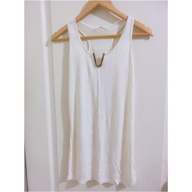 全新白色牛奶絲涼感透氣鐵環v領長版挖背背心