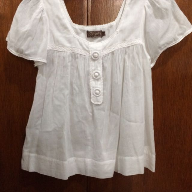 Just G White Breezy Top