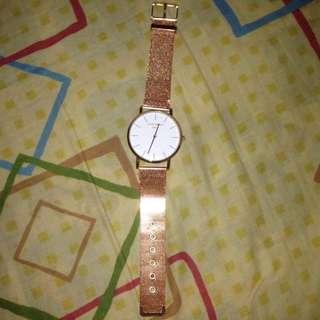 Rose Gold Metal Watch