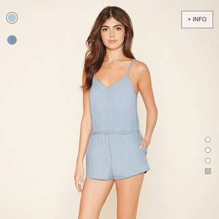 Forever 21 V-Neck Denim Cami Playsuit