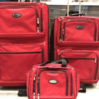 SET OF TWO RED JAGUAR SUITCASE+CARRY ON