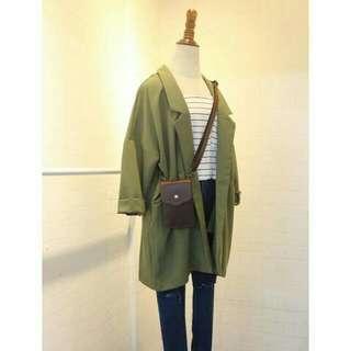 【韓貨轉賣】復古小清新男友風寬鬆翻領口袋軍綠色西裝外套