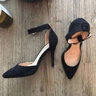 Black Suede Heel With Ankle Strap