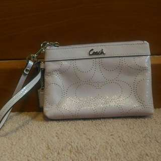 Coach Signature Lilac Patented Leather Wristlet