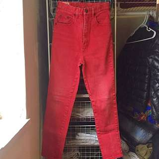VINTAGE Super High-Waisted Red Jeans