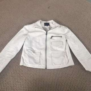 Faux White Leather Jacket
