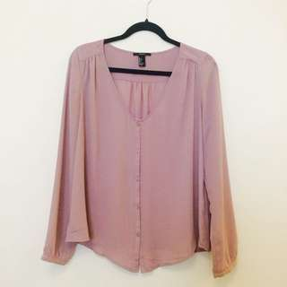 Lilac Loose Button Up Top