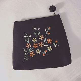 Darling little embroidered satin Purse