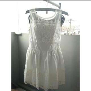 Dress Korea Putih Gading