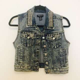 Studded Acid Wash Jean Jacket