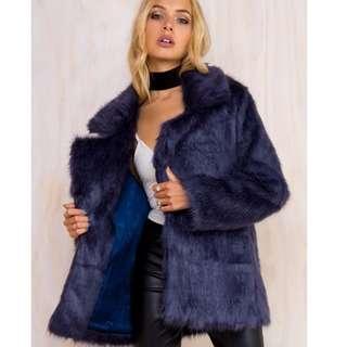 Somedays Lovin Blue Fur Coat