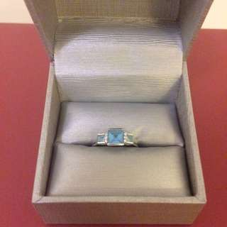 ❗️Reduced ❗️10k White Gold Princess Cut Aquamarine with Real Diamonds Ring