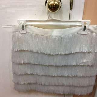 Club Monaco White Fringe Skirt