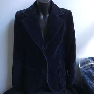 Winter Velvet Navy Blue Blazer Jacket Coat Size 10