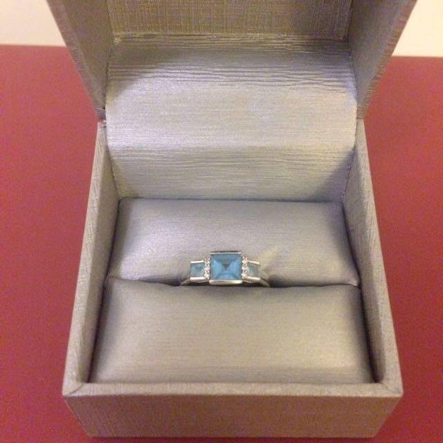 ❗️Reduced ❗️10k White Gold Princess Cut Aquamarine with Real Diamonds Ring