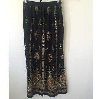 Tree of Life Black Sequin Pants