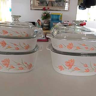 5 Sets Of Corning Ware Casseroles Peach Floral bakeware