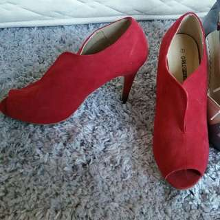 Peep Toe Red Velvet Feel Heels