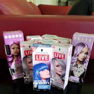 Hair Dye Package 4 Pastel Blue 2 Cool Grey 1 Red 1 Electric Blue 1 Lavender 1 Pastel Purple Brand New Unopened Postage $8