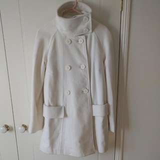 White Funnel Neck Wool Swing Coat