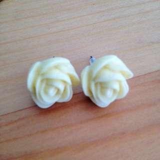 White Rose Earring Buds