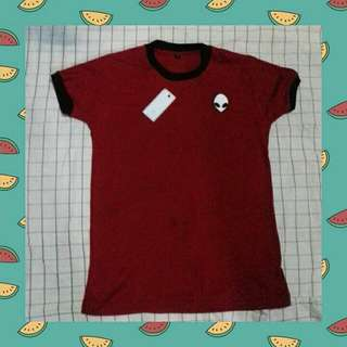 Ringer Red Tee With Patch