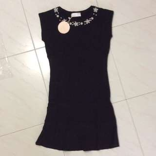 BN Black Short Sleeve Dress With Collar Details
