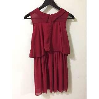 雪紡無袖洋裝 紅 謝師宴 小洋裝