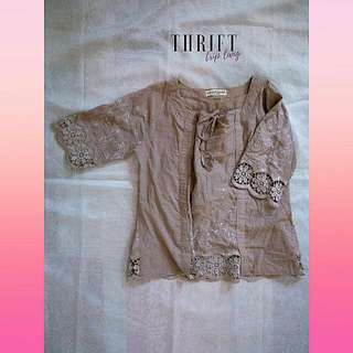 Brown Top With Lace Detail