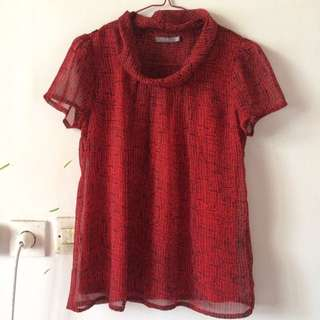 Blouse High Neck Red