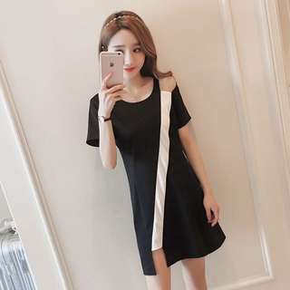 Monochrome Korean Style Irregular Designed Dress
