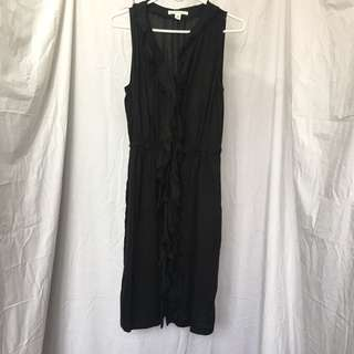 Banana Republic Sleeveless Black Ruffle Dress
