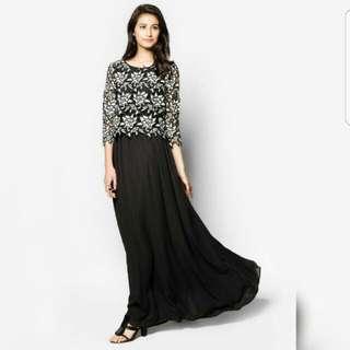 BNWT Zalia Black & White Lace Top Maxi Dress