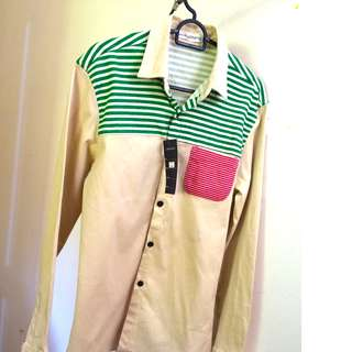 In Style Shirts - Beige Green Red Sriped