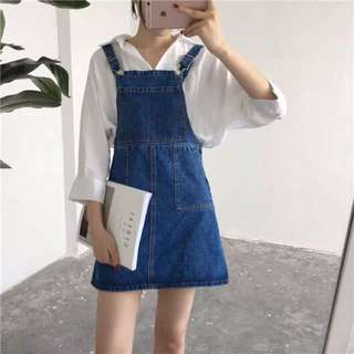 Denim Blue Coloured Buttons Designed Overall Dress